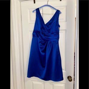 David's Bridal Knee-Length Blue Bridesmaid Dress
